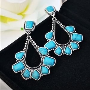 Retro Exaggerated 925 Silver Turquoise Earrings